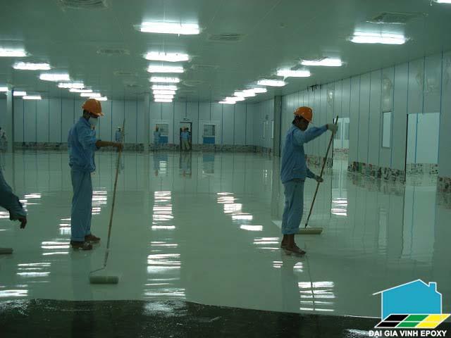 Thi công sơn epoxy sàn nhà giữ xe